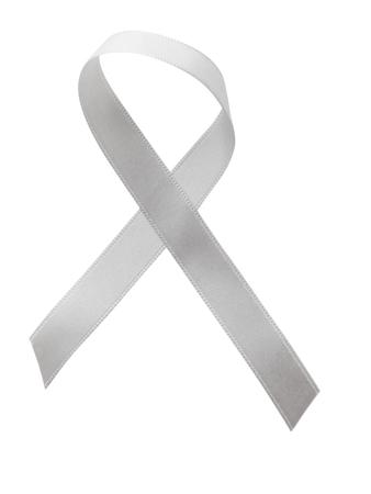 White ribbon awareness isolated on white background. Stock Photo