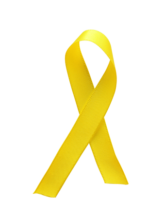 Yellow ribbon awareness isolated on white background. Clipping Path included