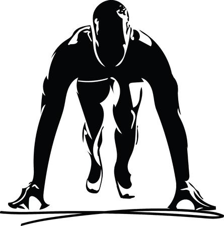 Man klaar om te rennen op het track-pictogram