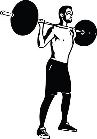 Weight lift workout at the gym with barbell