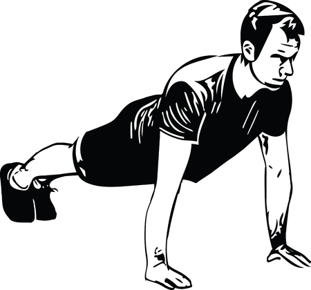 Active young man doing push ups Stock Illustratie