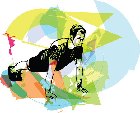 Active young man doing push-ups in gym vector illustration