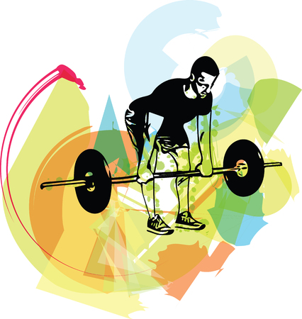 weightlift workout at the gym with barbell vector illustration