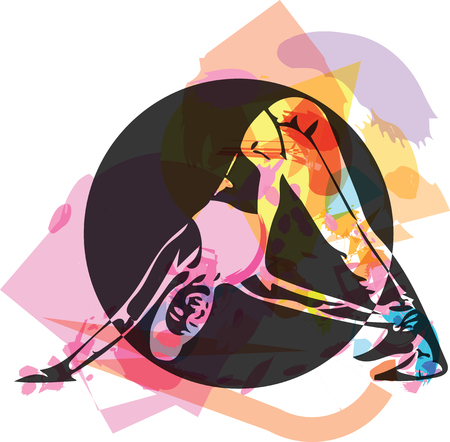 fit young woman in sportswear vector illustration Ilustração