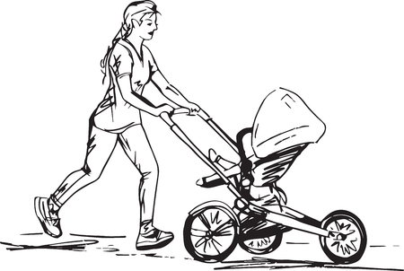 Sketch of woman Running with Buggy vector illustration