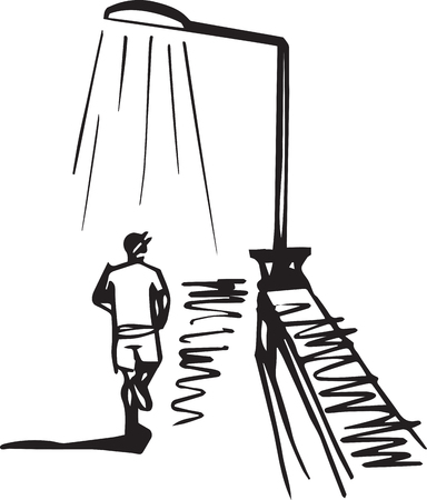 Running down the street vector illustration