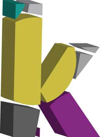 Colorful three-dimensional font letter k