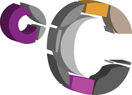 Colorful three-dimensional celcius Symbol