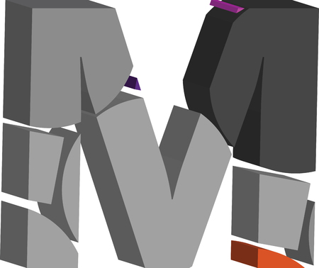 Colorful three-dimensional font letter M