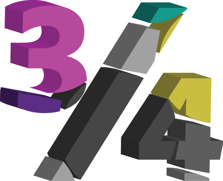 Colorful three-dimensional 3/4 Symbol Illustration