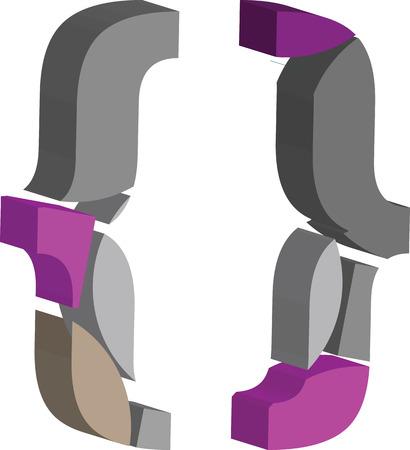 Colorful three-dimensional font Symbol Vektorgrafik
