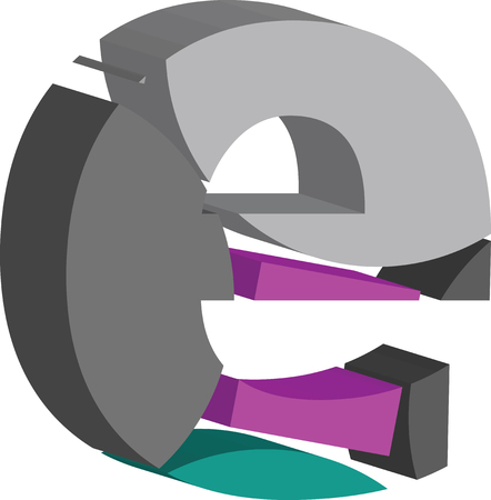 Colorful three-dimensional font letter e
