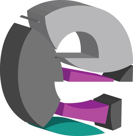 Colorful three-dimensional font letter e
