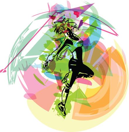 beautiful dancing girl in movement urban culture concept vector illustration