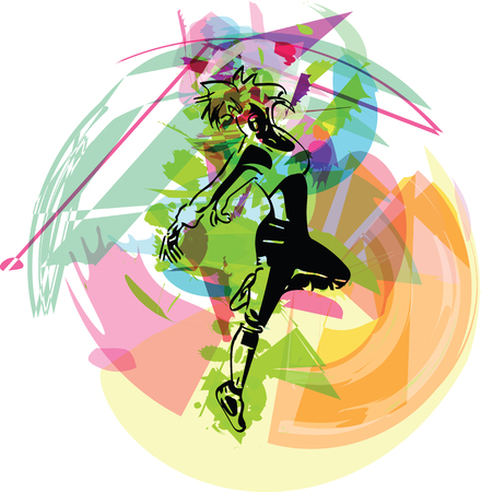 Belle danseuse en mouvement culture urbaine concept vector illustration