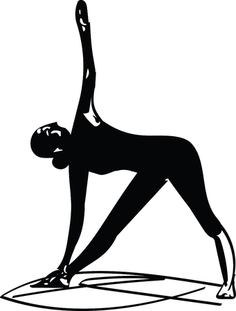 Woman doing yoga, abstract lines drawing vector illustration