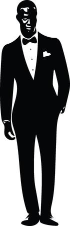 Drawing of elegant young fashion man in tuxedo posing Vector Illustration