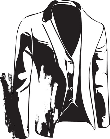 Drawing of elegant young fashion man in tuxedo posing Vector Illustration