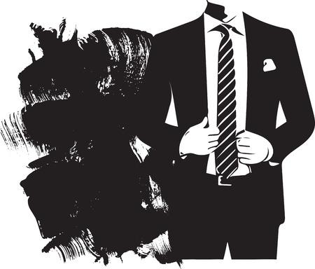 Dibujo, de, elegante, joven, moda, hombre, en, smoking, posar, vector, ilustración