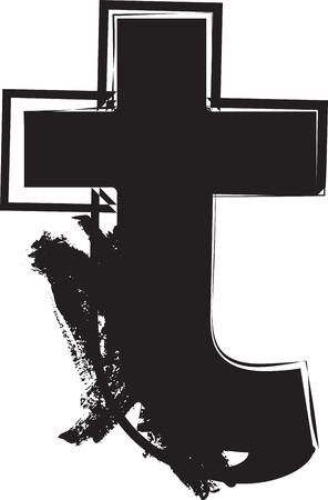 Grunge Font letter t vector illustration 向量圖像