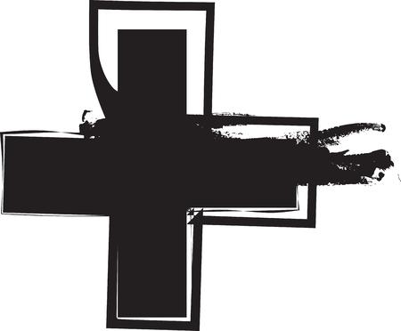 Abstract vector illustration drawing of cross Symbol