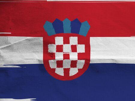 Grunge Croatia flag or banner Imagens