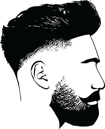 Bearded man faces hipster with haircuts. Men fashion vector for barbershop template. Vector Illustration Vettoriali