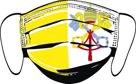 Vatican flag on medical face masks isolated on white vector illustration Illusztráció