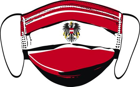 Austria flag on medical face masks isolated on white vector illustration Vetores
