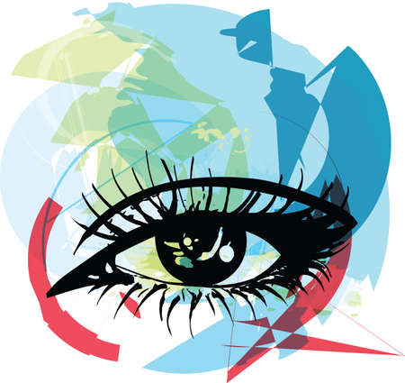 Abstract Female eye sketch vector illustration