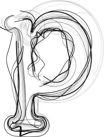 Abstract Doodle Letter p Vector illustration