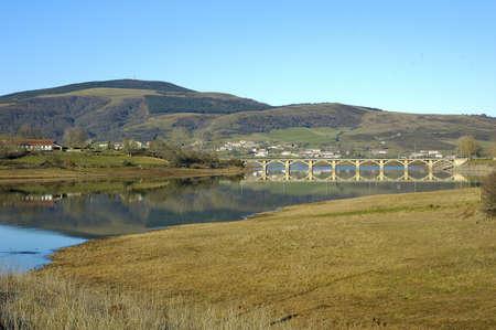 Ebro reservoir lake in castilla leon spain Stock Photo