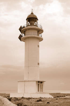 Barbaria cape lighthouse in Formentera Balearic island Stock Photo