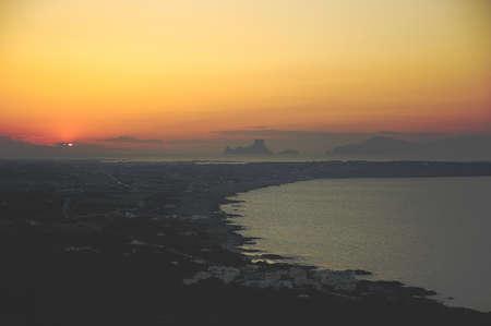Formentera sunset in Balearic Island in Spain