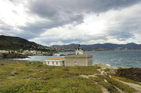 selva: Sarnella lighthouse in port de la Selva Stock Photo