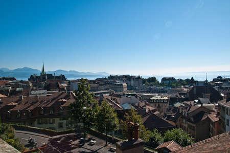 Lausanne overview in Leman Lake Vaud Switzerland