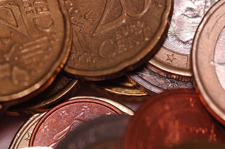 messed: Coin macro detail euro europe pay iron Stock Photo