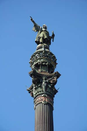 descubridor: Colon monumento estatua en Barcelona Espa�a Foto de archivo