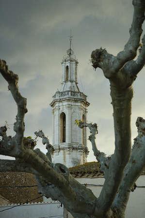 alt: Borrassa belfry in Alt Emporda Girona Spain Stock Photo