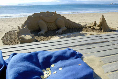 Statues made with beach sand in Roses Stock Photo - 18286367