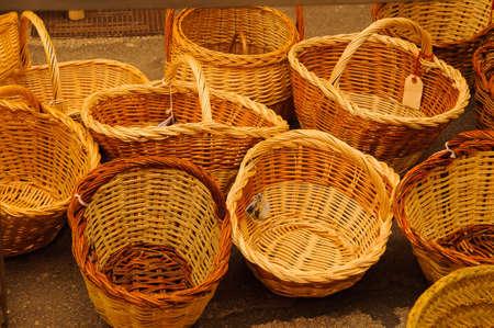 wicker baskets handmade in a local market Stock Photo