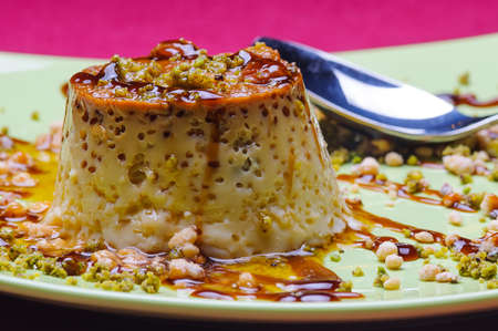 Flan custard tyropatina vanille or egg is a typical dessert in europe