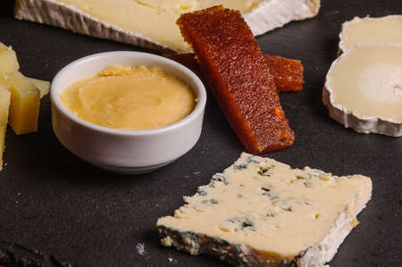 tasting assortment of cheeses tyical spanish food