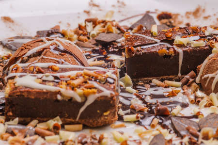Tasting assortment of various types of chocolate Stock Photo