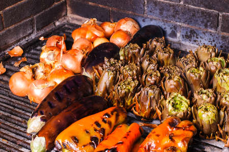 fire bricks: Grilled vegetables is a typical dish of Catalonia in Spain Stock Photo