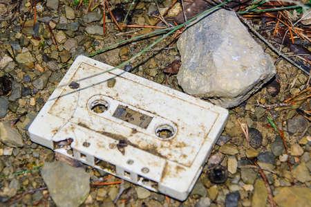 magnetic stones: Abandoned broken and battered cassette mountain
