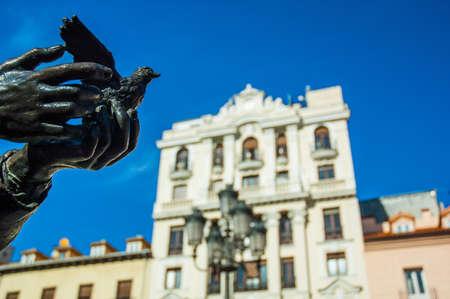 garcia: Federico Garcia Lorca monument in Santa Ana square Madrid