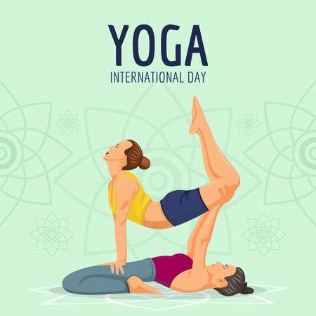 yoga international day with two women meditating Illusztráció