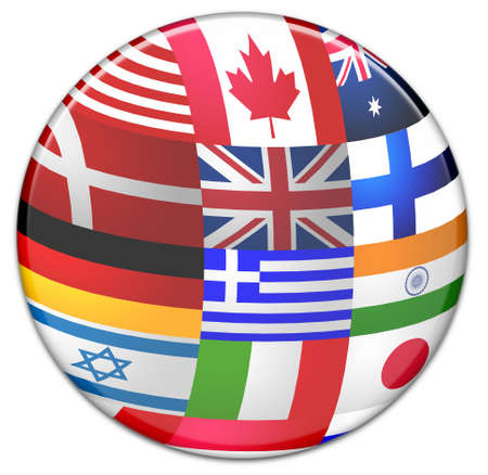 Sphere made from country flags HQ rendered photo