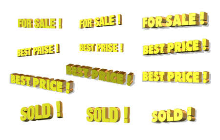 Some business 3d words sale, best price, sold... Stock Photo - 2920789